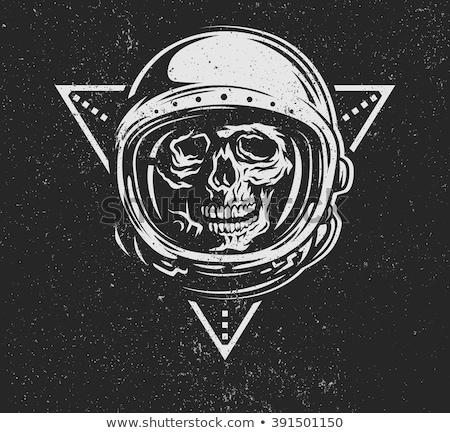 skull in space helmet dead space vector illustration stock photo © maryvalery