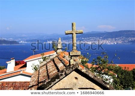 Cruz pueblo galicia España cielo calle Foto stock © lunamarina