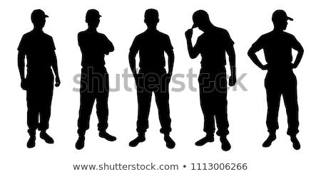 Silhueta homem soldado militar ilustração Foto stock © lenm