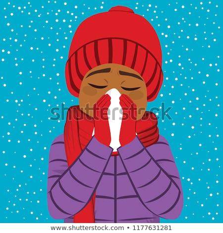 Man niezen sneeuw illustratie koud gezondheid Stockfoto © lenm