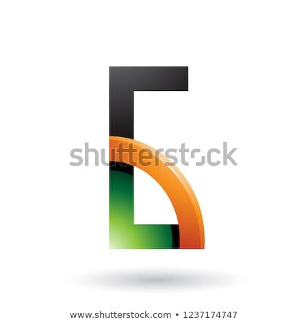 Zöld narancs g betű fényes negyed kör Stock fotó © cidepix
