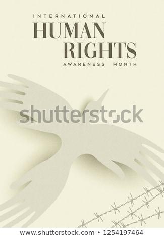 Derechos humanos tarjeta de felicitación personas mano aves internacional Foto stock © cienpies