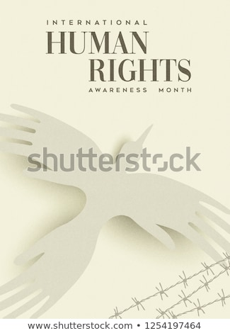 Human Rights greeting card of people hand bird Stock photo © cienpies