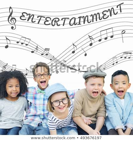 Woord luisteren muziek muziek merkt Maakt een reservekopie illustratie Stockfoto © colematt