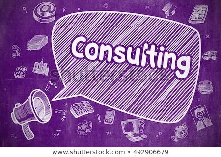 Expert Advice - Cartoon Illustration on Purple Chalkboard. Stock photo © tashatuvango