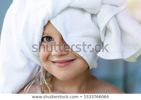 Gelukkig kinderen badjas illustratie meisje kind Stockfoto © colematt