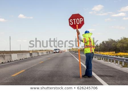 út munkás tart stoptábla illusztráció férfi Stock fotó © colematt