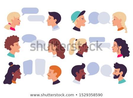 Pareja · estudiantes · hablar · junto · nina · sonrisa - foto stock © Minervastock