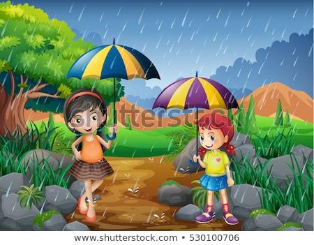 парка сцена дождливый сезон иллюстрация дерево Сток-фото © colematt