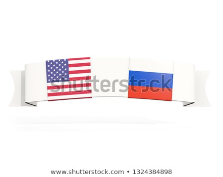 Banner with two square flags of United States and russia Stock photo © MikhailMishchenko