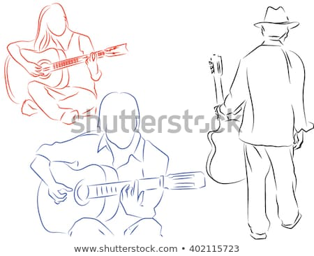 Silhouet gitarist muzikanten ingesteld gedetailleerd spelen Stockfoto © Krisdog