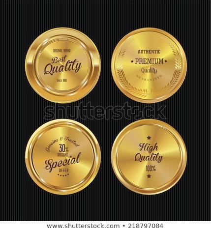 Foto stock: Prêmio · dourado · metal · botões · conjunto