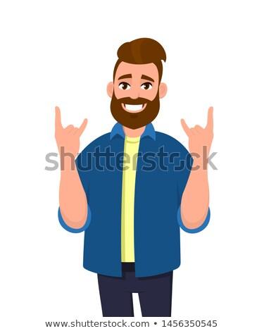 Stock photo: smile emotion, men hand rock gesture