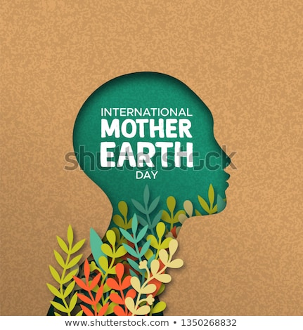 Earth Day card of papercut woman head with leaves Stock photo © cienpies