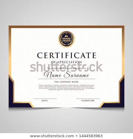 elegáns · elismerés · bizonyítvány · sablon · terv · siker - stock fotó © sarts