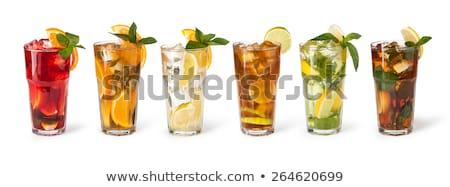 üveg ice tea fehér buborékok csepp forró Stock fotó © Zerbor