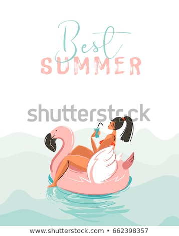 Summer time card of pink flamingo background Stock photo © cienpies