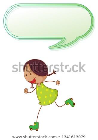 Girl playing roller skate with speech balloon Stock photo © colematt