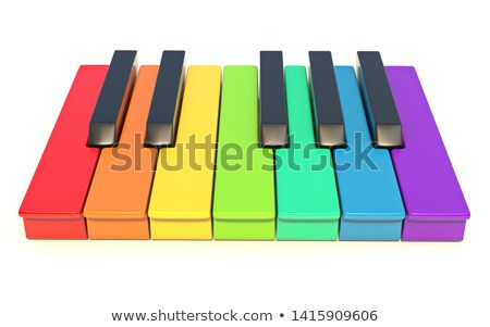 Multi colored piano keys One octave front view 3D Stock photo © djmilic