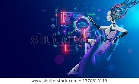 humanoide · robot · manos · procesador · microchip · texto - foto stock © limbi007