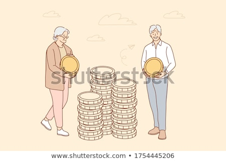 Character Man And Woman With Pension Saving Vector Stock photo © pikepicture