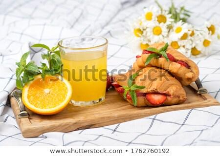 Sok pomarańczowy rogalik świeże kamień tabeli francuski Zdjęcia stock © karandaev