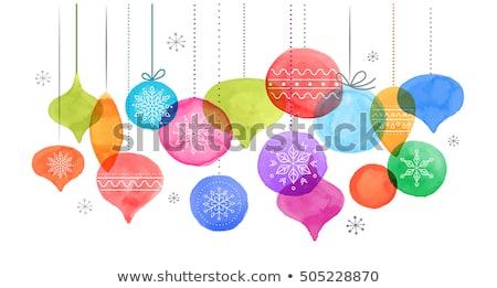 Stock fotó: Karácsony · golyók · vízfesték · vibráló · színek · dekoráció