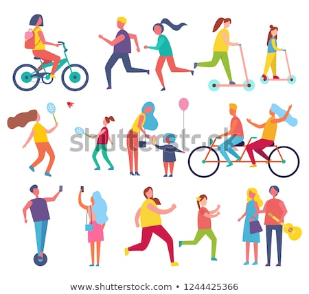Mother and Daughter Riding Double Bicycle Vector Stock photo © robuart