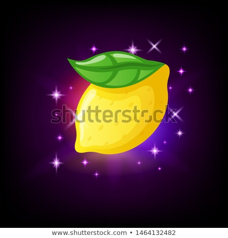 Bright yellow lemon fruit with green leaf, slot icon for online casino or logo for mobile game on da Stock photo © MarySan