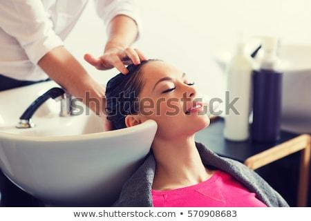 ヘアドレッサー スタイリスト 美容院 はさみ 少女 顔 ストックフォト © Krisdog