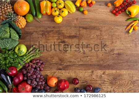 Stock photo: Healthy eating background of different fruits on old wooden table BANNER, LONG FORMAT