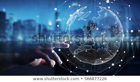 Férfi megérint háló hologram képernyő modern Stock fotó © ra2studio