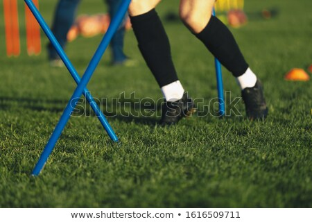 Soccer Drills: The Slalom Drill with Ball. Soccer Football Training Session Stock photo © matimix