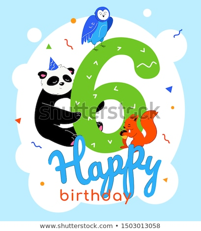 Children 6th birthday greeting card vector template Stock photo © Decorwithme