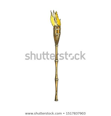 Lampe de poche brûlant bambou plage lampe couleur Photo stock © pikepicture