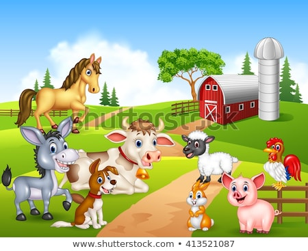 Cartoon сельскохозяйственных животных комического группа иллюстрация Сток-фото © izakowski