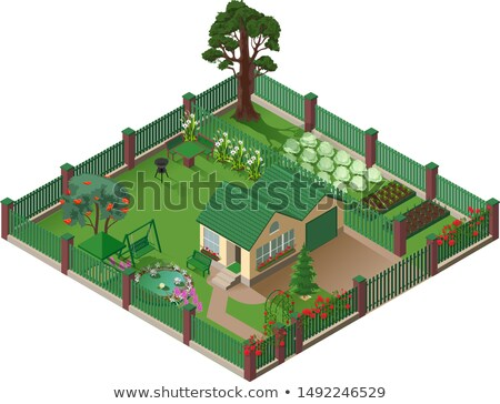 Private country house cottage and garden. American suburbia home isometric illustration Stock photo © orensila