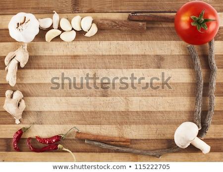 Keret friss zöldségek fakeret fából készült rusztikus asztal Stock fotó © dariazu