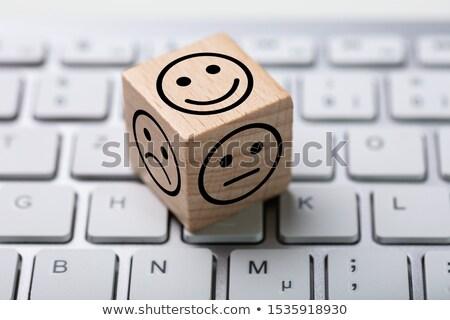 Ouvrir la satisfaction enquête dés clavier ligne Photo stock © AndreyPopov