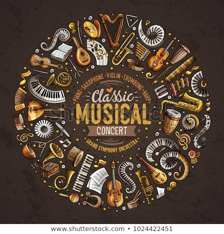 Conjunto desenho animado rabisco clássico instrumentos musicais objetos Foto stock © balabolka