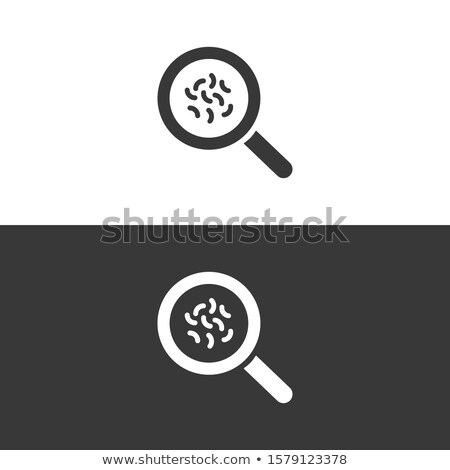 Magnifying glass with germs icon on black and white background. Vector pharmacy illustration Stock photo © Imaagio