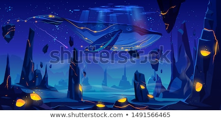 Scene with spaceship flying in the sky at night Stock photo © bluering