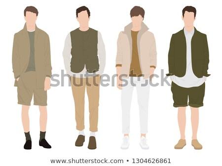 Junge tragen Safari weiß Illustration Lächeln Stock foto © bluering