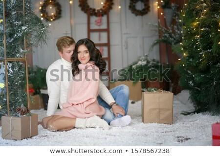 Getrouwd liefhebbers kerstboom ingericht guirlande Stockfoto © ElenaBatkova