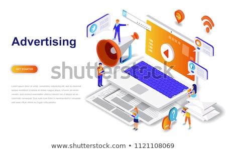 Reklama promo obrotu szablon głośnik megafon Zdjęcia stock © ikopylov
