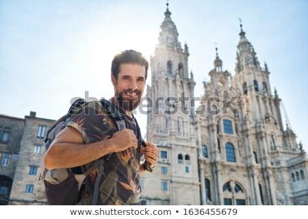 肖像 幸せ 男 巡礼 サンティアゴ 男性 ストックフォト © diego_cervo