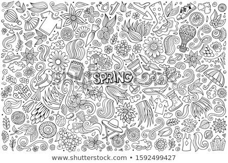 Set of Spring theme items, objects and symbols Stock photo © balabolka