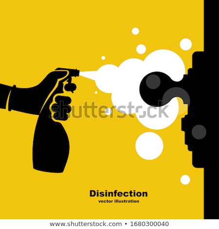 man disinfecting the door handle Stock photo © nito
