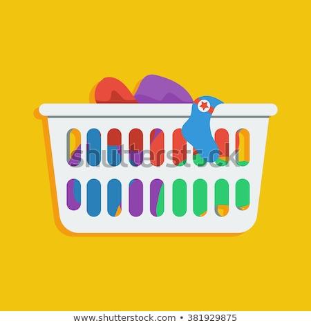 Panier à linge stockage sale vêtements vecteur vide Photo stock © pikepicture