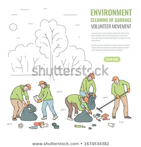 People Cleaning Forest, Volunteers Sorting Trash Stock photo © robuart